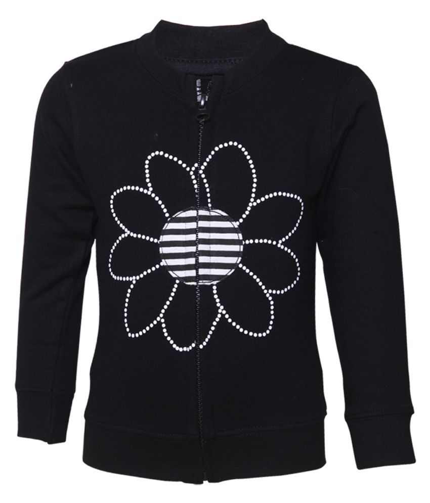 Tales & Stories Black Cotton Printed Crew Neck Sweatshirt for Girls