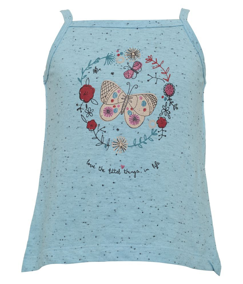 Tales & Stories Blue Cotton Printed Tank Top for Baby Girls