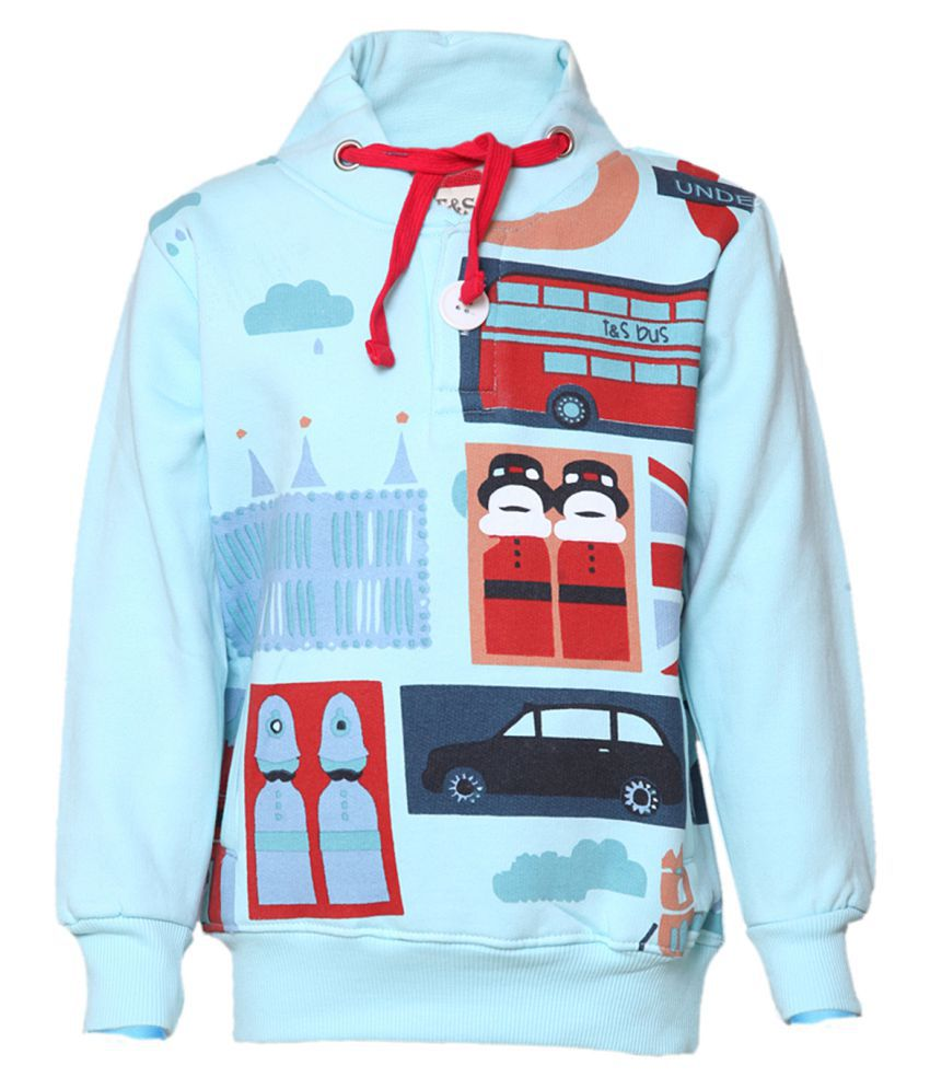 Tales & Stories Sky Blue Cotton Printed Crew Neck Sweatshirt for Boys