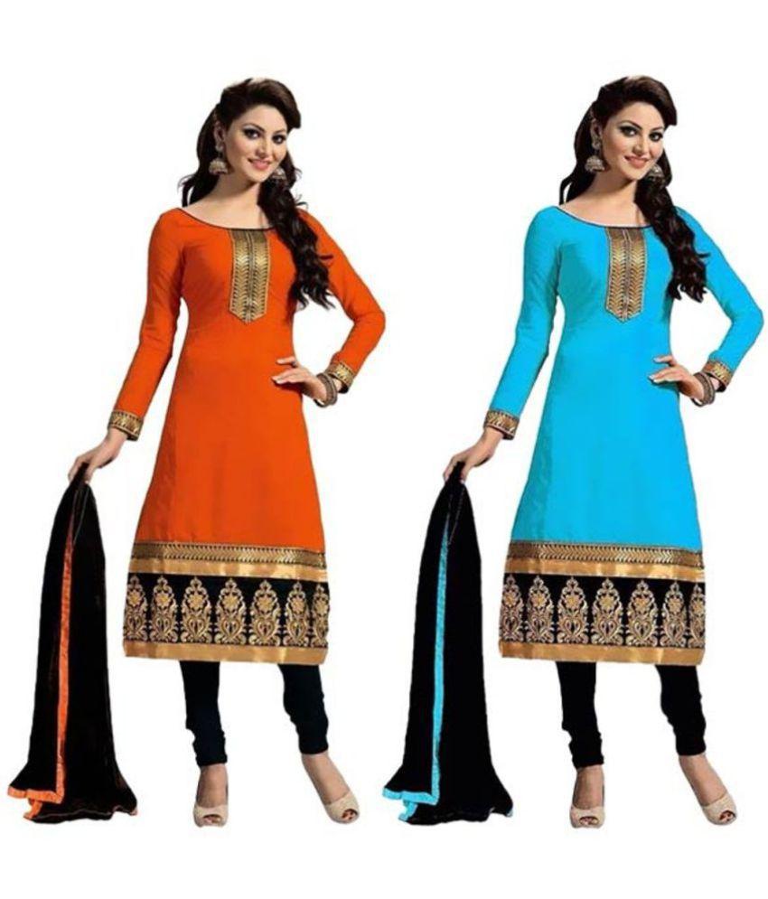 FIBREZA Multicoloured Cotton Dress Material