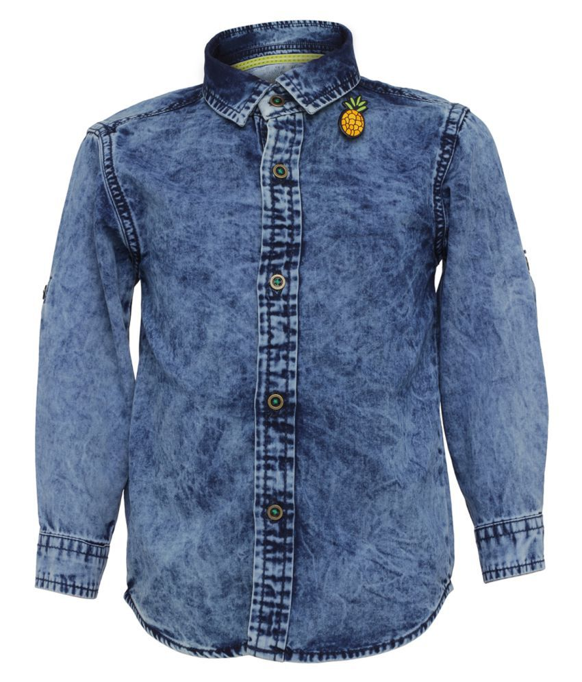 Tales & Stories Medium Blue Cotton Full Sleeved Shirts for Baby Boys