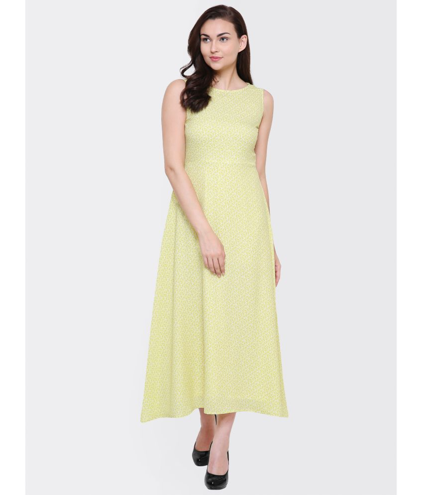 Yaadleen Crepe Yellow A- line Dress