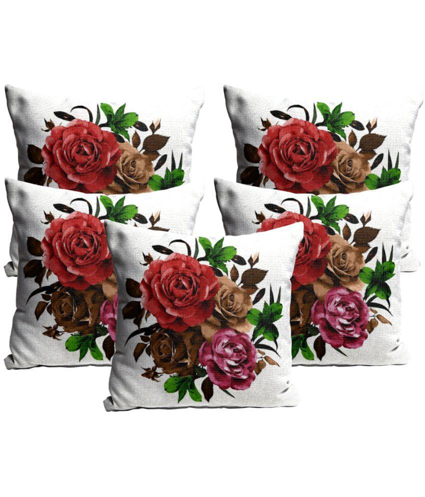 Mukesh Handicrafts Set of 5 Jute Cushion Covers 60X60 cm (24 X 24)