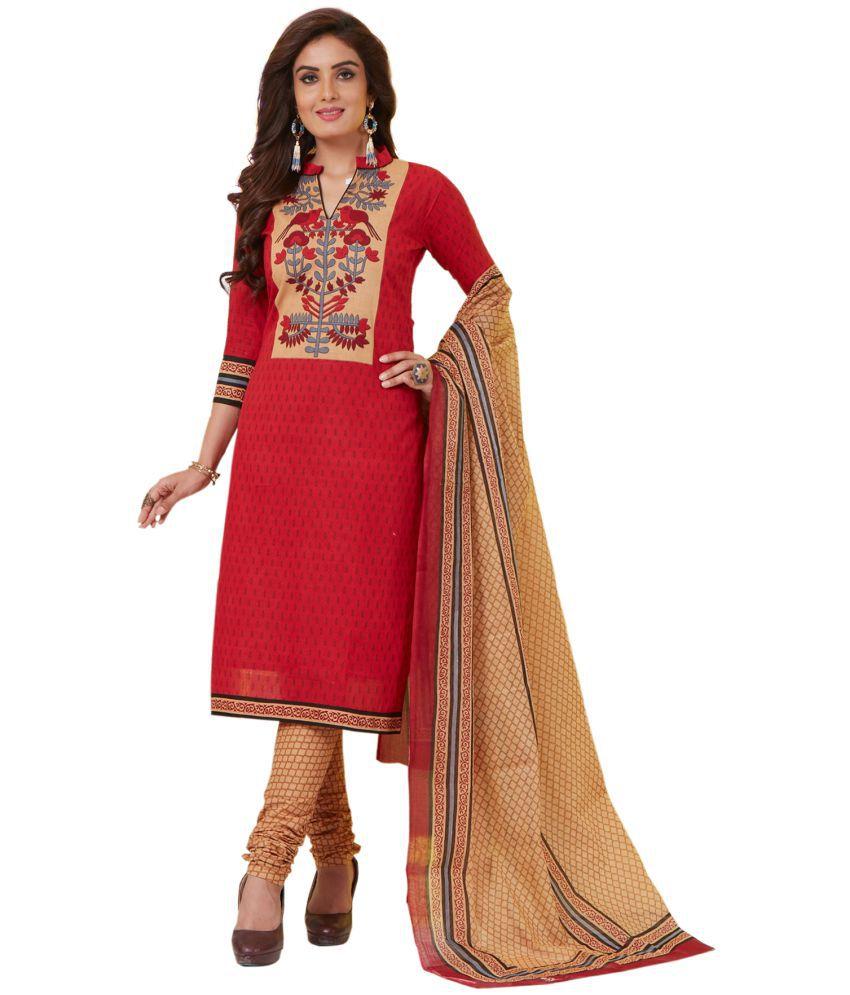 Salwar Studio Red Cotton Dress Material