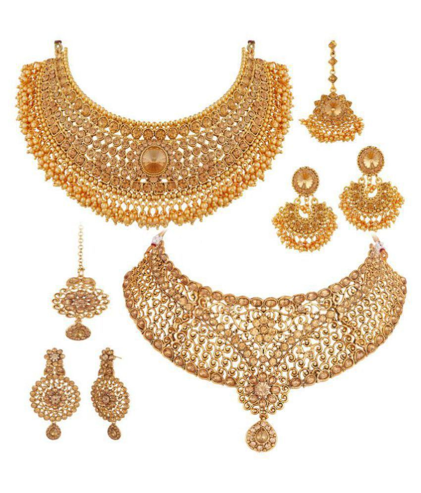 APARA Alloy Golden Collar Traditional Gold Plated Necklace set Combo