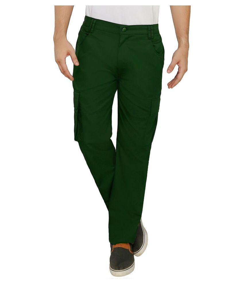 Ashdan Olive Green Regular -Fit Flat Cargos
