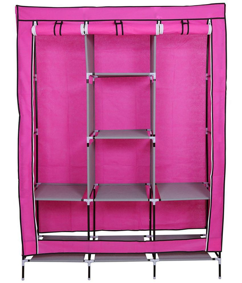 non woven fabric collapsible wardrobe clothes storage rack cupboard rh snapdeal com