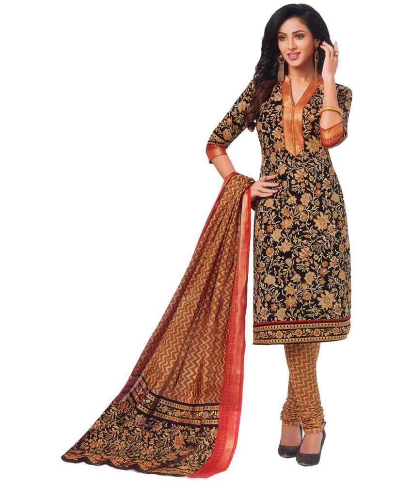 Areum Black Cotton Dress Material