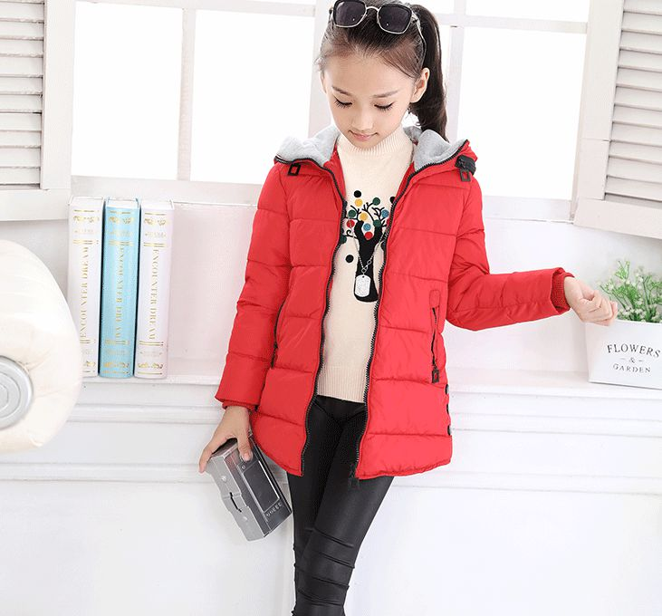 Changing Destiny Winter girls thick cotton jacket-Red-1Pcs