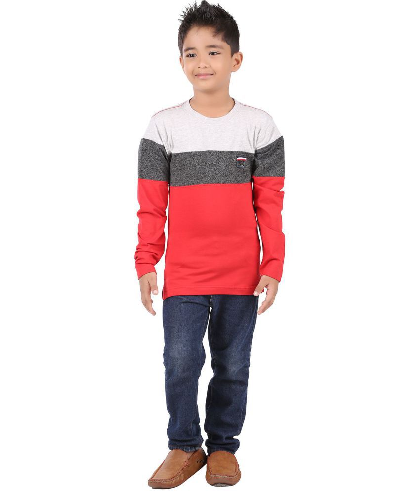 fd5d9e19287 BodyGlove Color Block Round Neck Full Sleeves T-Shirt For Boys - Buy ...