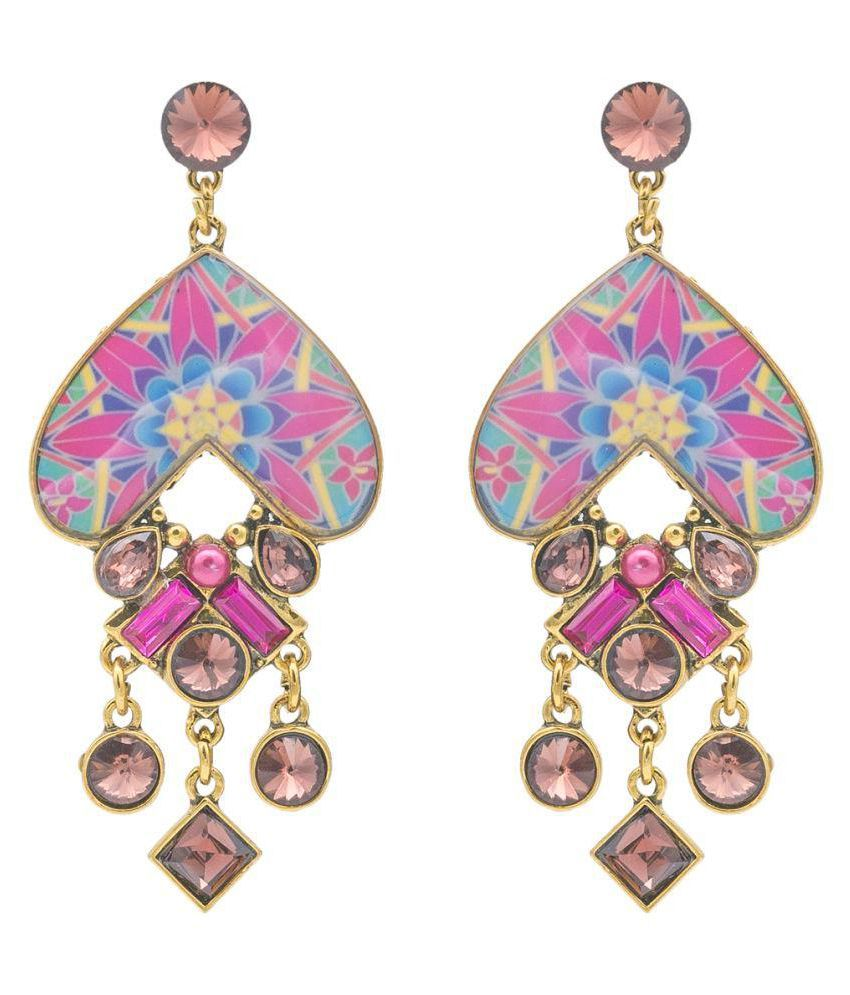 Kiyara Accessories Heart shaped dangle and drop 3D Enamel designer earrings with glass stones gold plated for Girls and Women. (Rani)