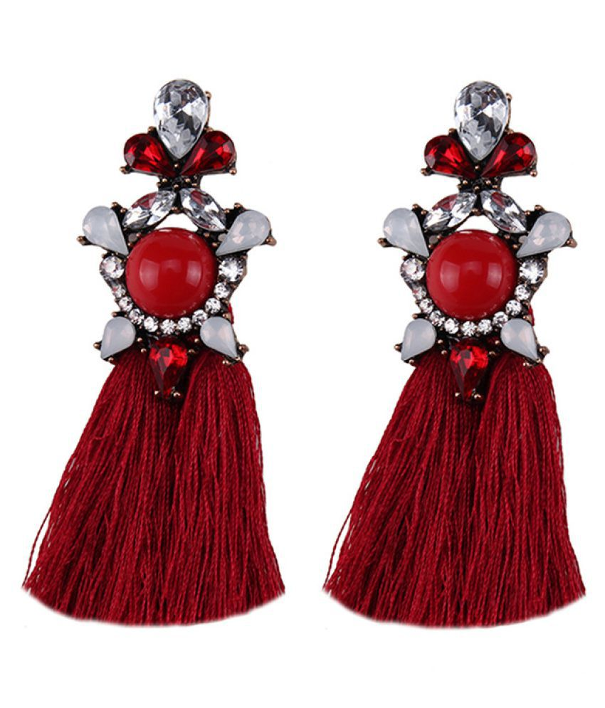Levaso Fashion Earrings Ear Studs Acrylic Diamond Tassels Jewelry Red