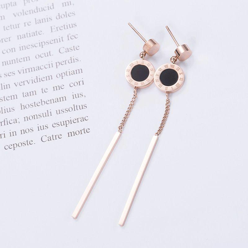 Levaso Fashion Earrings Ear Studs Titanium Steel Tassels Jewelry Rose Gold