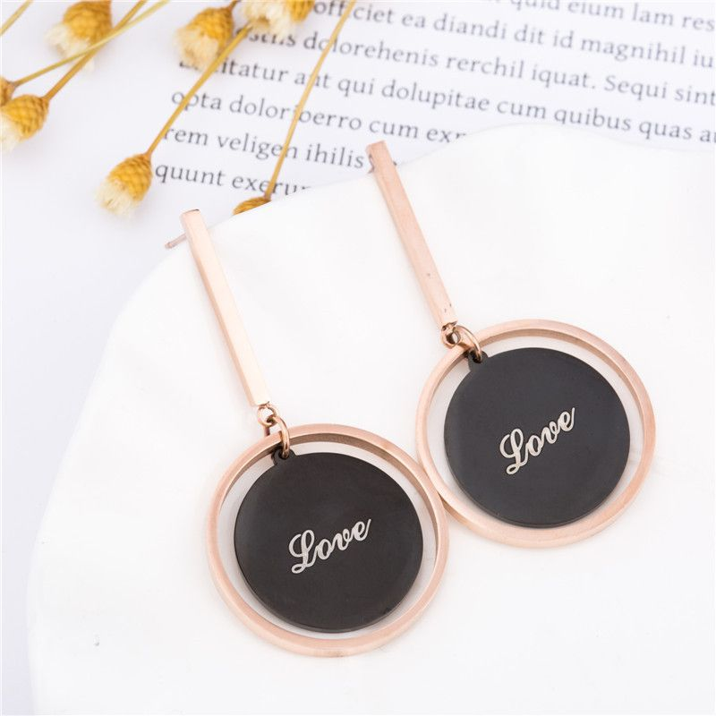 Levaso Fashion Earrings Ear Studs Titanium Steel Jewelry Rose Gold