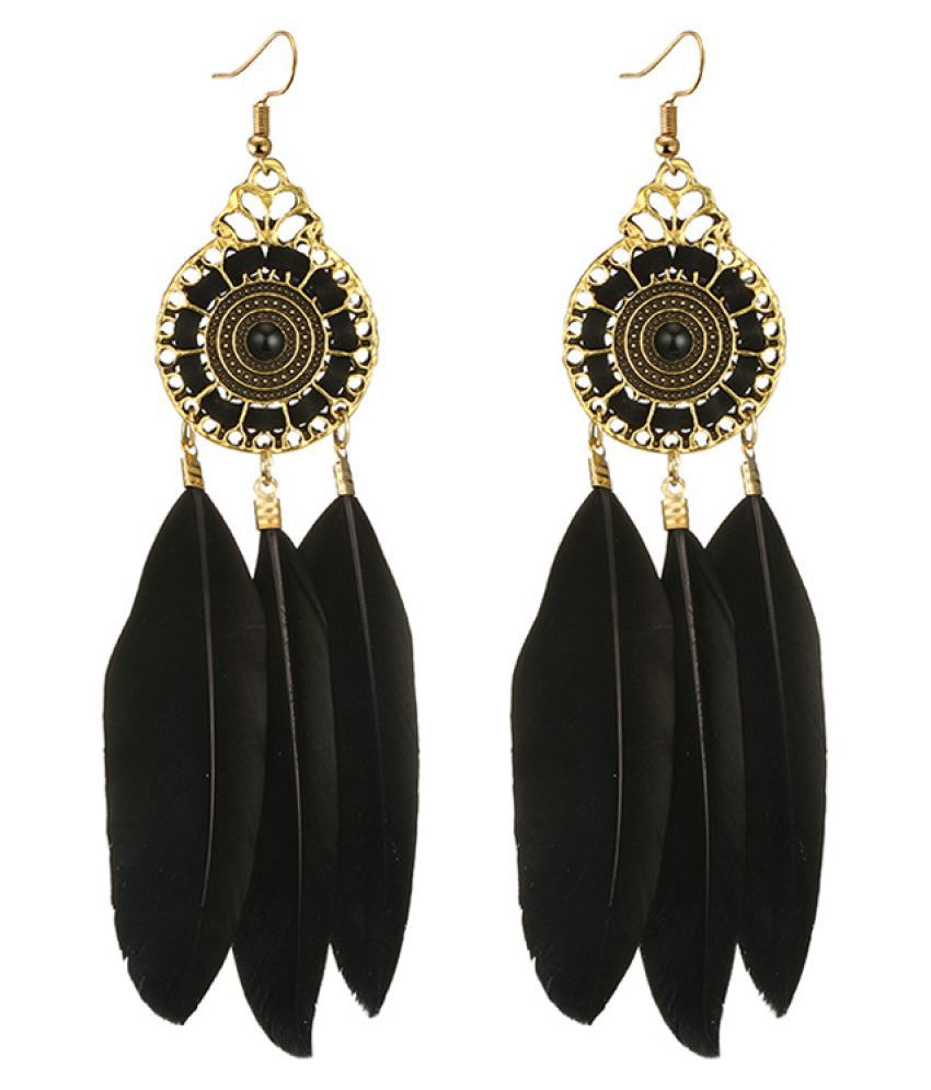 Levaso Fashion Earrings Ear Studs Feather Bohemia Jewelry Blue