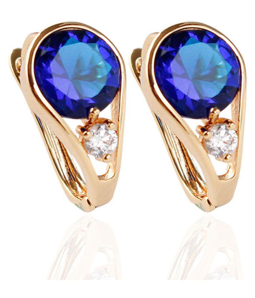 Levaso Fashion Earrings Ear Studs Alloy Diamond Jewelry Blue