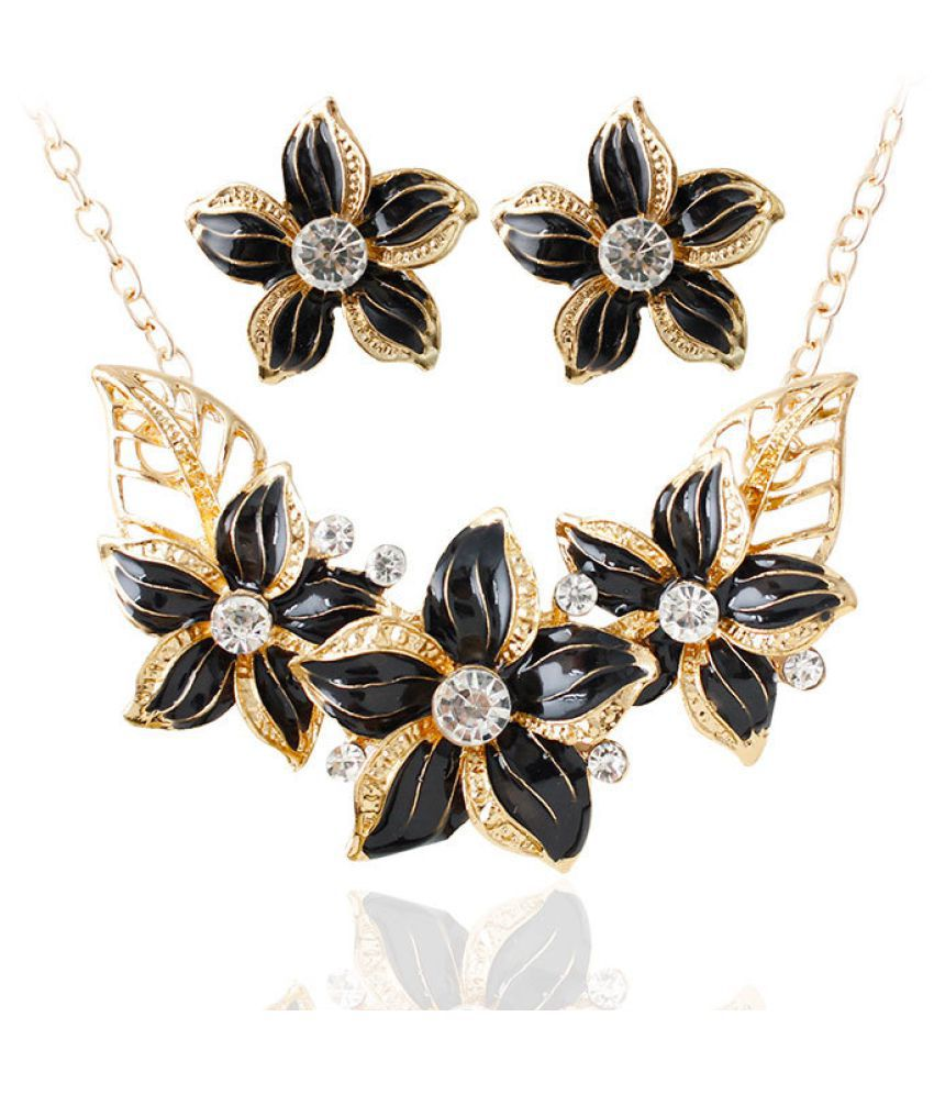 Levaso Fashion Earrings Ear Studs Alloy Necklace Pendant Jewelry Set Black