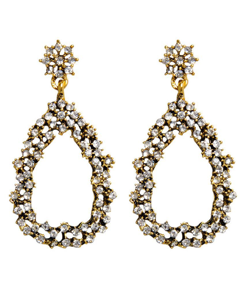 Levaso Fashion Earrings Ear Studs Alloy Diamond Jewelry Golden