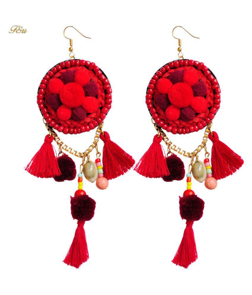 Levaso Fashion Earrings Ear Studs Alloy Bohemia Tassels Jewelry Red