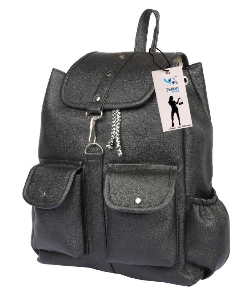 PEKIAN Black P.U. Backpack
