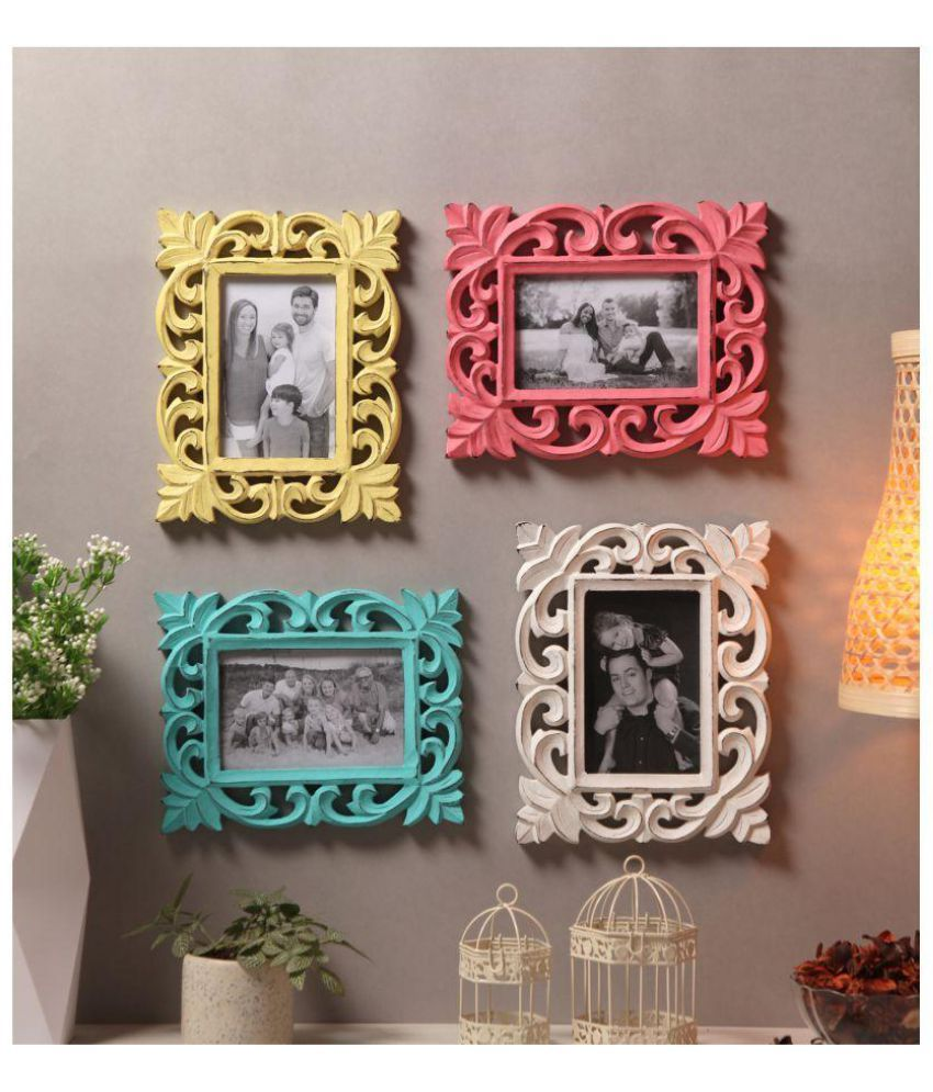 Yatha Wood Multicolour Photo Frame Sets - Pack of 4