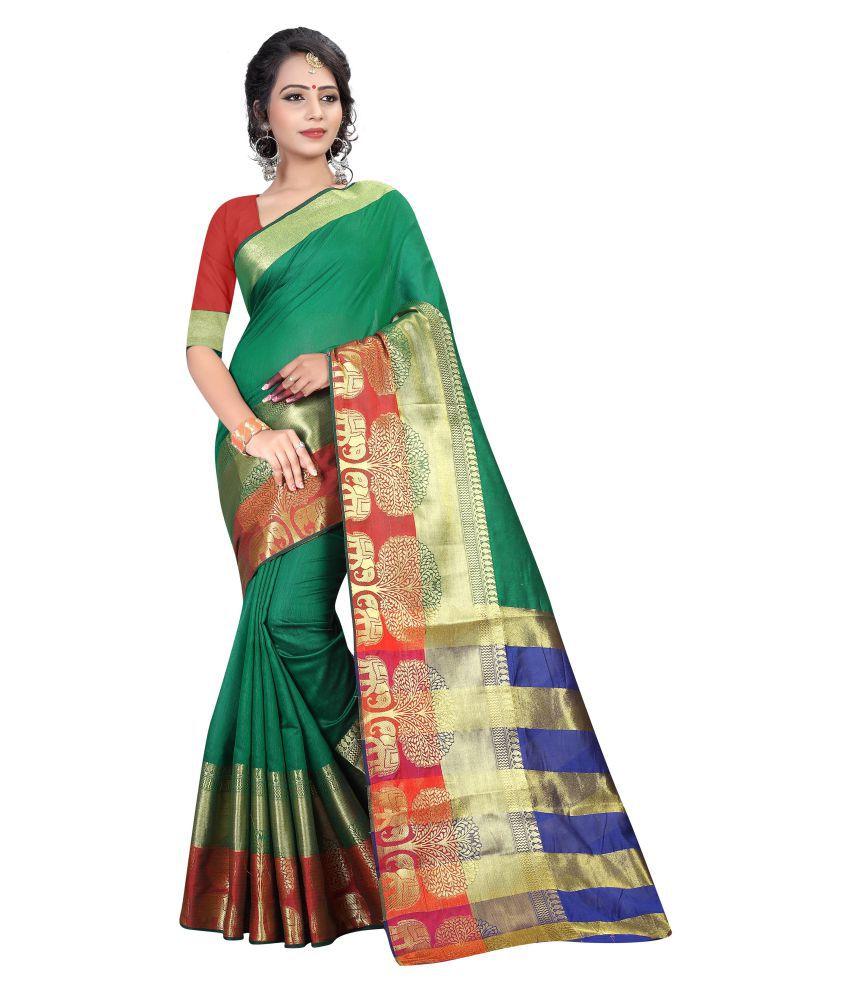 Dealsure Multicoloured Cotton Silk Saree