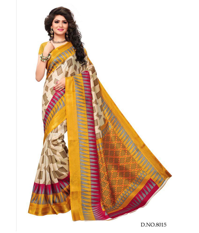 NEMI AGENCY Beige Cotton Silk Saree