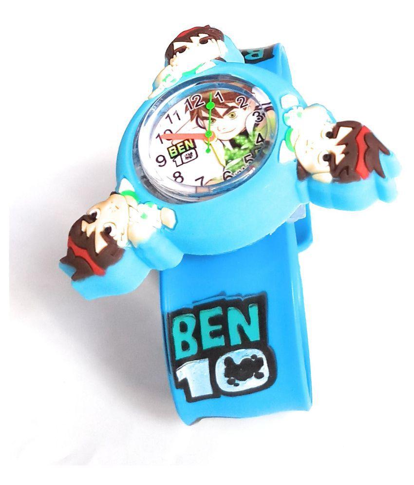 S S TRADERS   Cute Blue Ben10 Fidget Spinner Analog Watch for Girls Good gift for Kids
