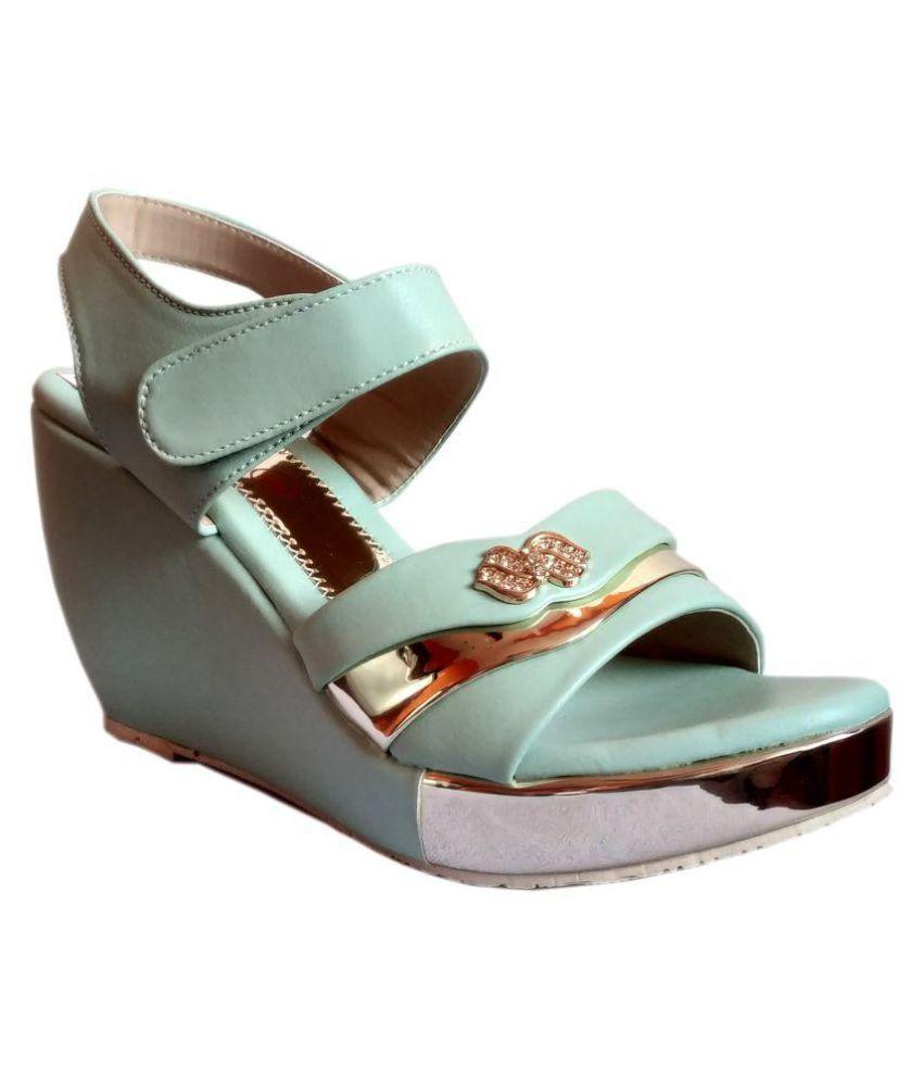 VASL Green Wedges Heels