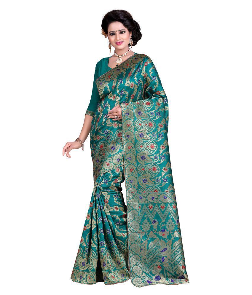 Greenvilla Designs Turquoise Banarasi Silk Saree