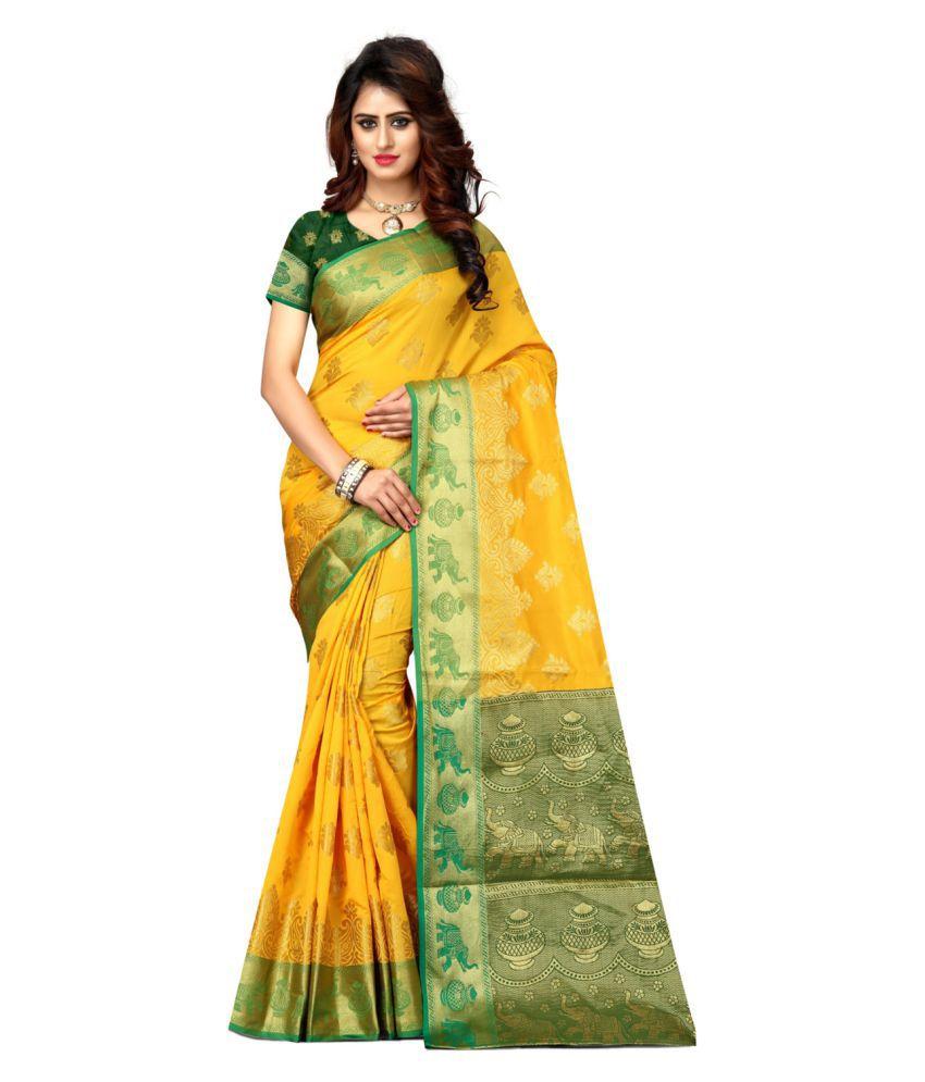 Greenvilla Designs Yellow Banarasi Silk Saree