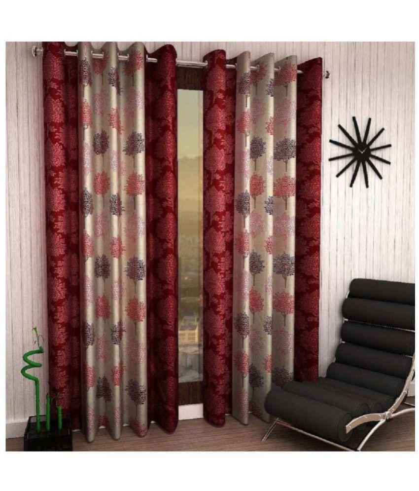 Geonature Set of 2 Door Semi-Transparent Eyelet Polyester Curtains Maroon