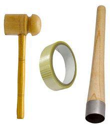 Finest Combo of Cricket Knocking Mallet Hammer Ball+Grip Cone+10 Meter Fiber Bat Tape Roll