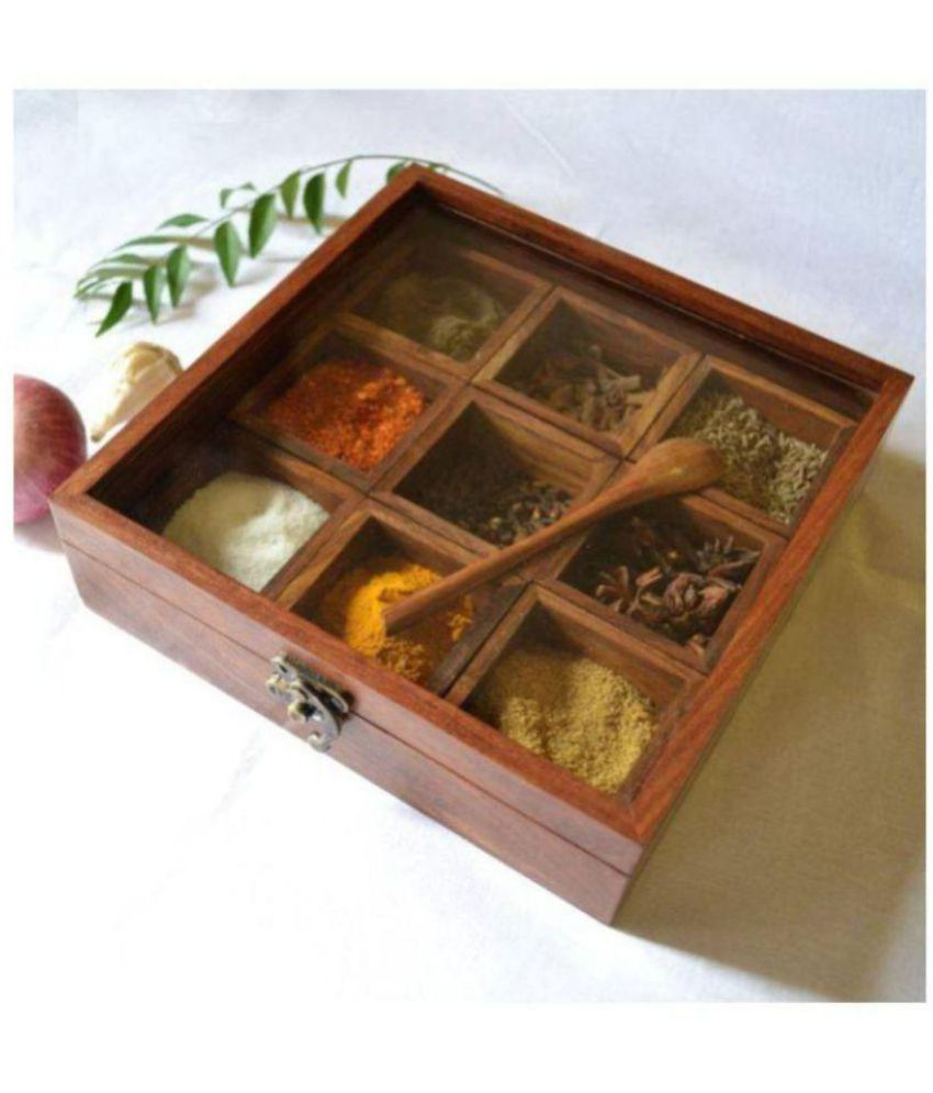 Al Marjaan Handicraft Wooden Spice Container Wooden Spice Container Set of 9