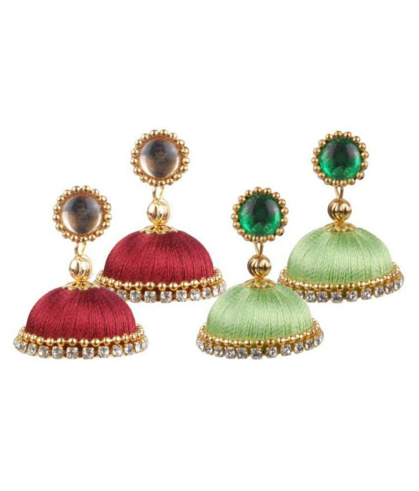Gorgeous Silk Jhumkas to match any traditional attire!!!Simple yet elegant!!! Would be a sure match to any traditional attire...