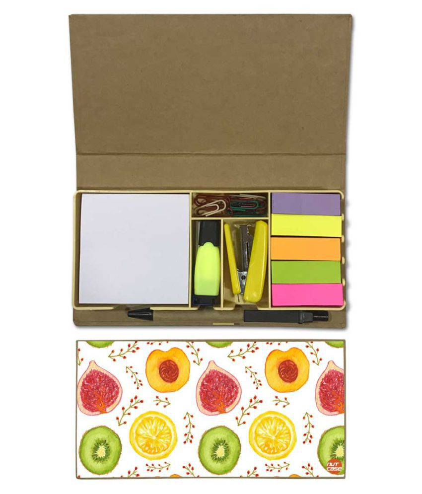 Nutcase Designer Stationary Kit Desk Customised Organizer Memo Notepad - Fruits