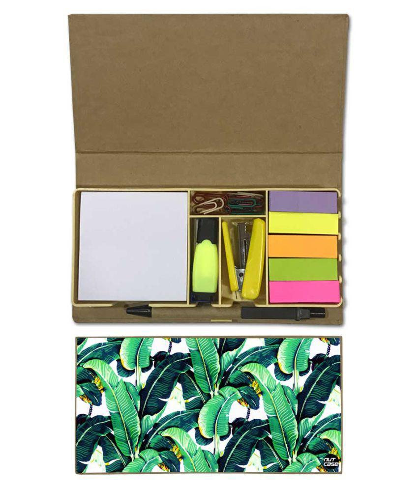 Nutcase Designer Stationary Kit Desk Customised Organizer Memo Notepad - Green Leaves