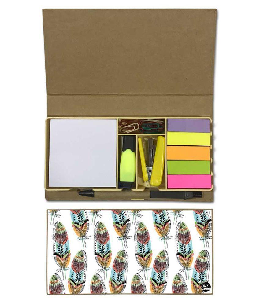 Nutcase Designer Stationary Kit Desk Customised Organizer Memo Notepad - White Feathers