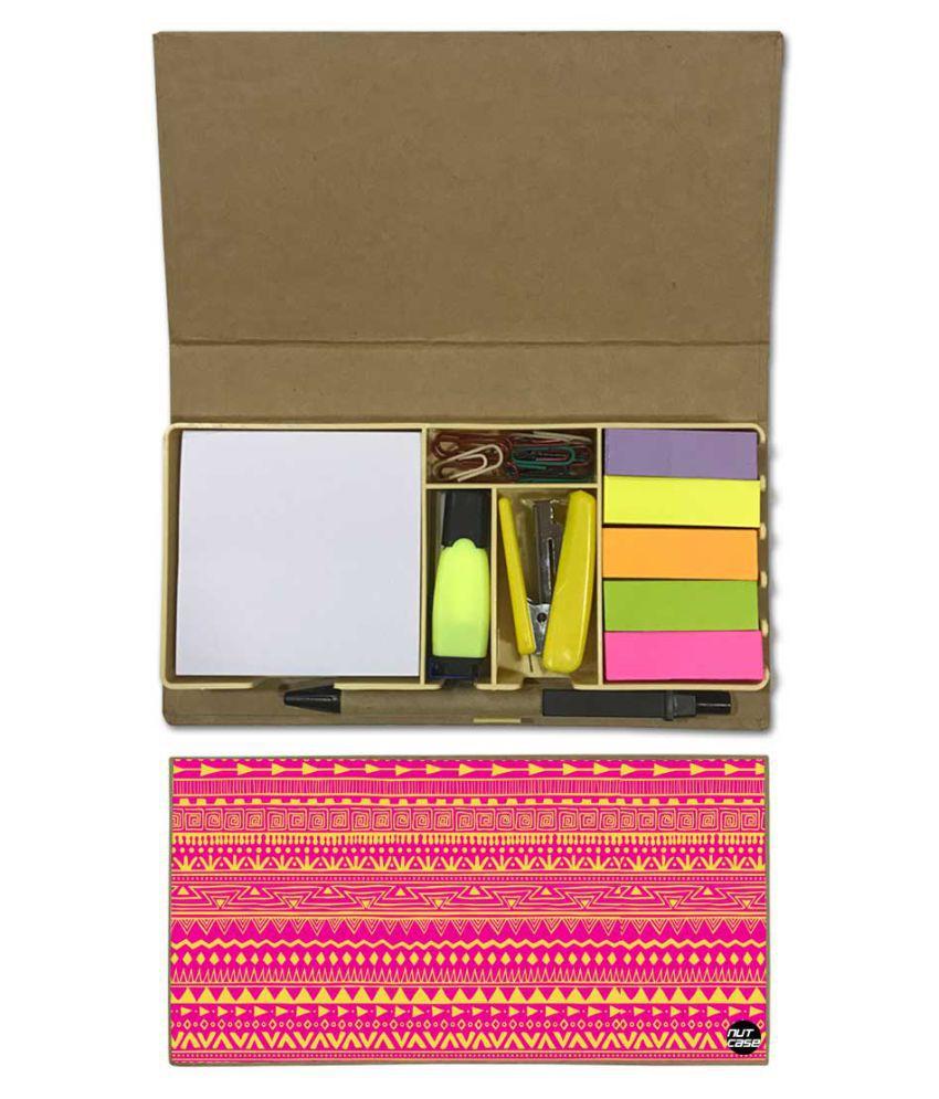 Nutcase Designer Stationary Kit Desk Customised Organizer Memo Notepad - Pink Aztec