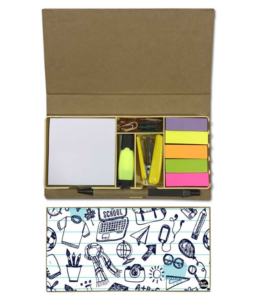 Nutcase Designer Stationary Kit Desk Customised Organizer Memo Notepad - Back To School Classroom