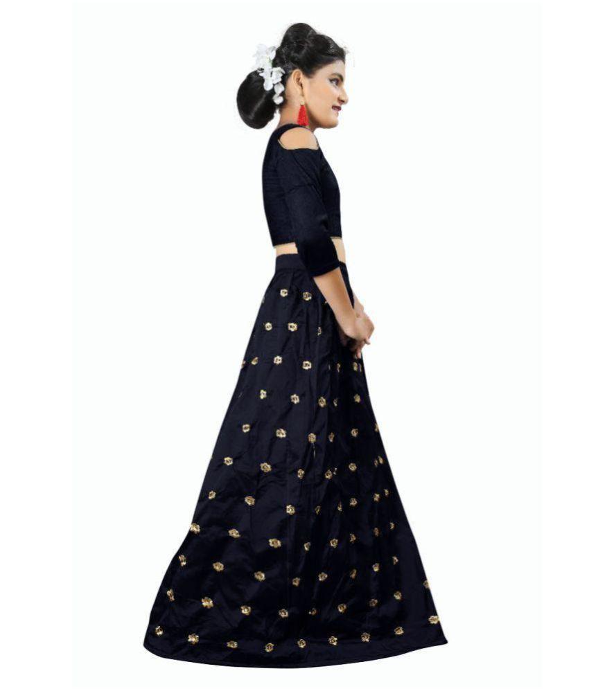 78d3359b09 ... F Plus Fashion Black Taffeta Silk Heavy Embroidered Wedding Wear Kids Lehenga  Choli _Suitable To 8 ...