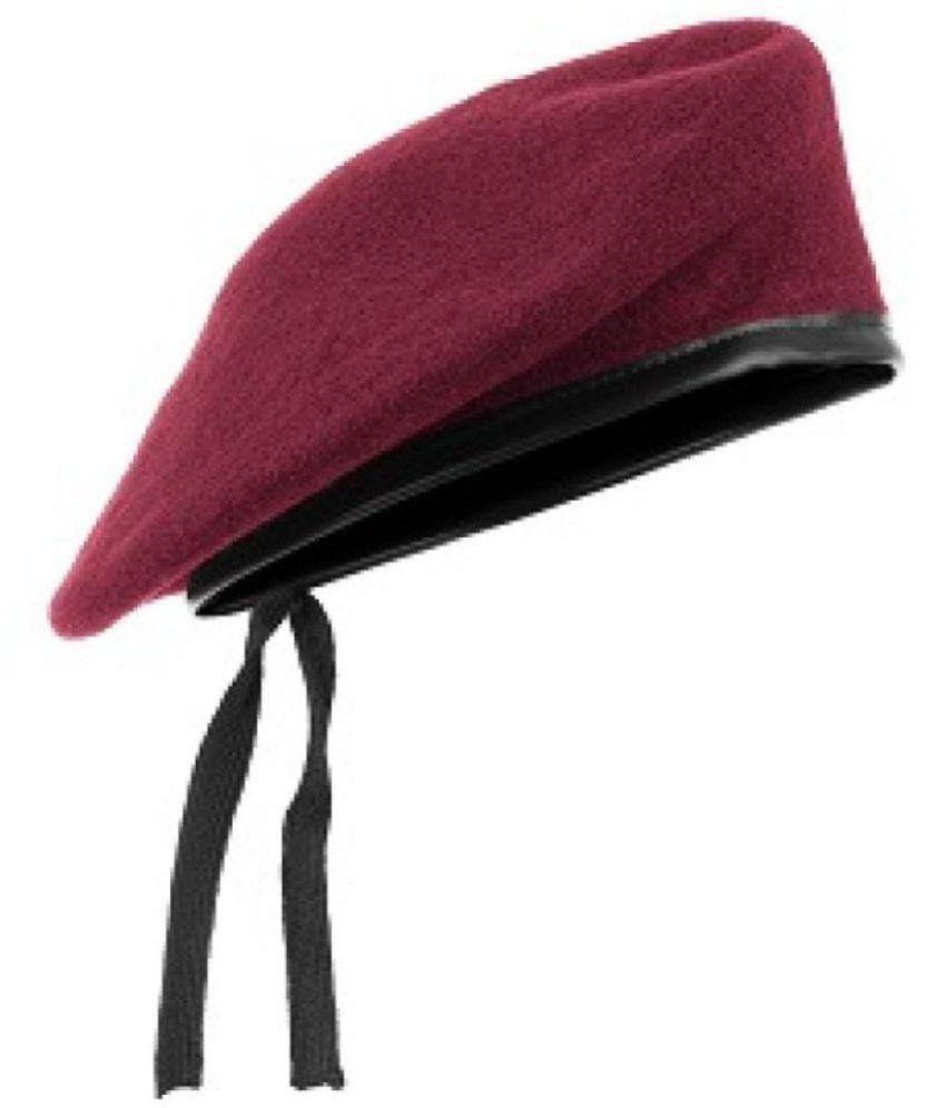 GIABELLA Unisex French Woolen Beret Cap, Rajputana cap, Traditional Army Style Cap,(MAROON)
