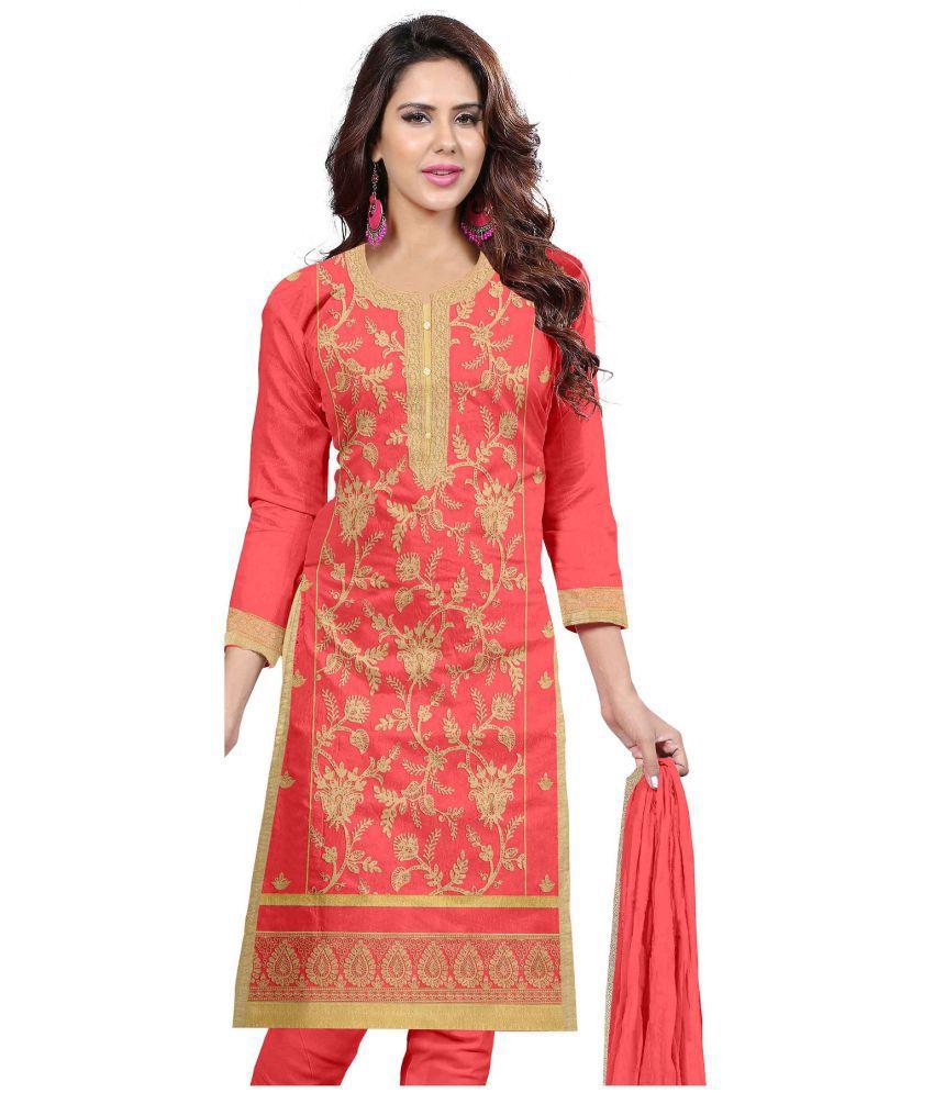 Udaan Red Chanderi Dress Material