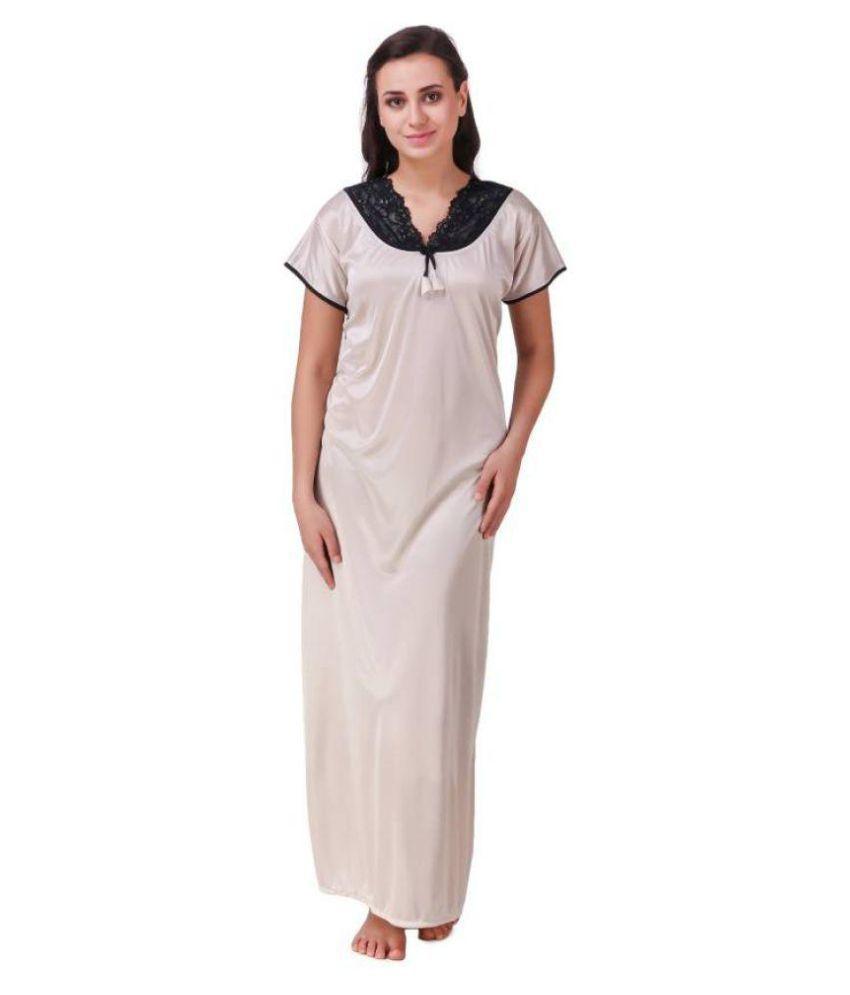 DILJEET Satin Nighty & Night Gowns - Off White