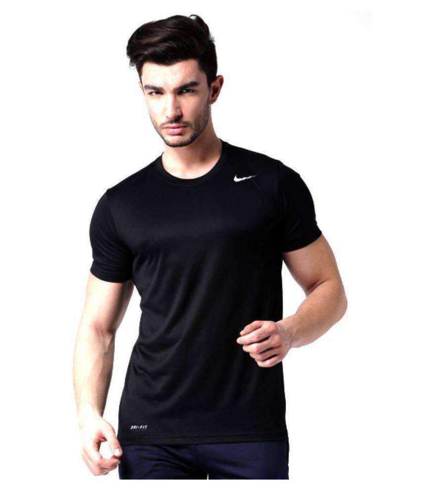 Nike Black Polyester Lycra T-Shirt