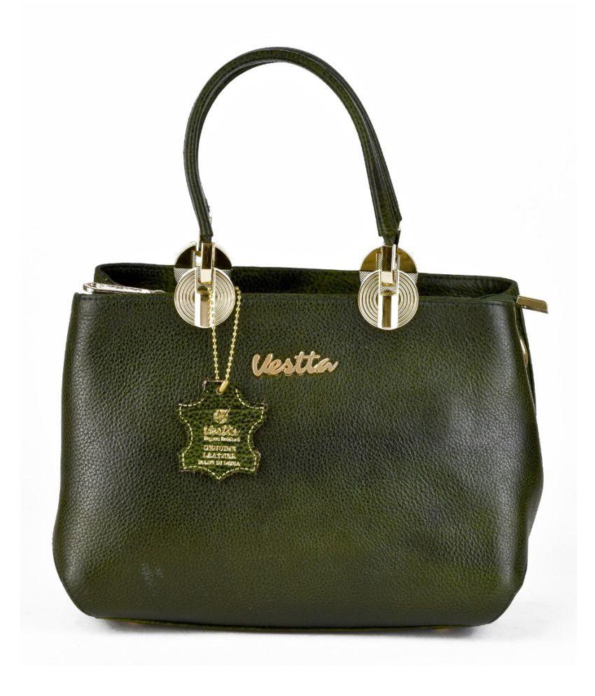 Vestta Green Pure Leather Satchel Bag