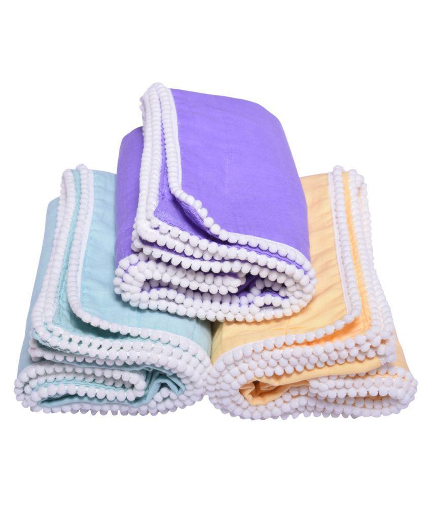 MK HANDICRAFT Purple Cotton Baby Wrap cum blanket ( 100 cm × 80 cm - 3 pcs)