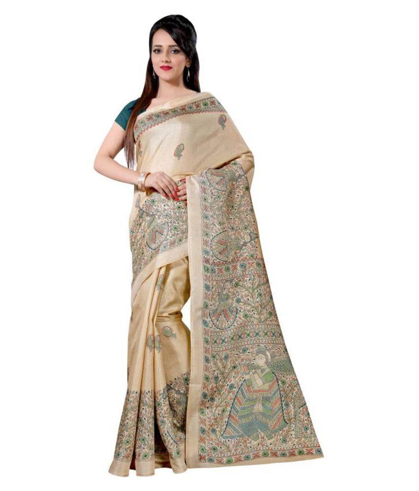 Yashraj Export Grey and Beige Cotton Silk Saree