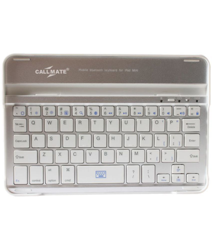 Callmate Aluminum Shell Bluetooth Keyboard Snap On Case Stand For Apple iPad Mini  White