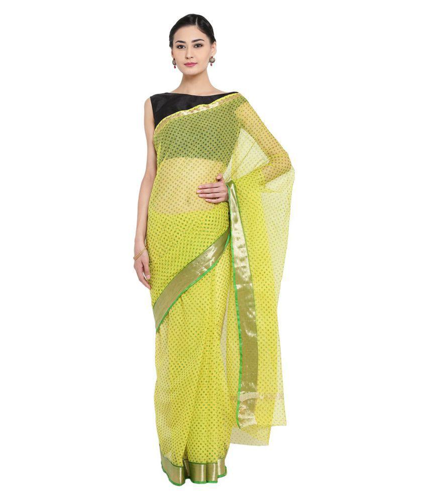 BADJATYA SAREES Green and Yellow Cotton Saree